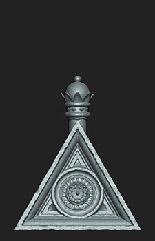 HP Zbrush sculpt of the Triangular Piece for my Jacobethan Style Fountain asset.